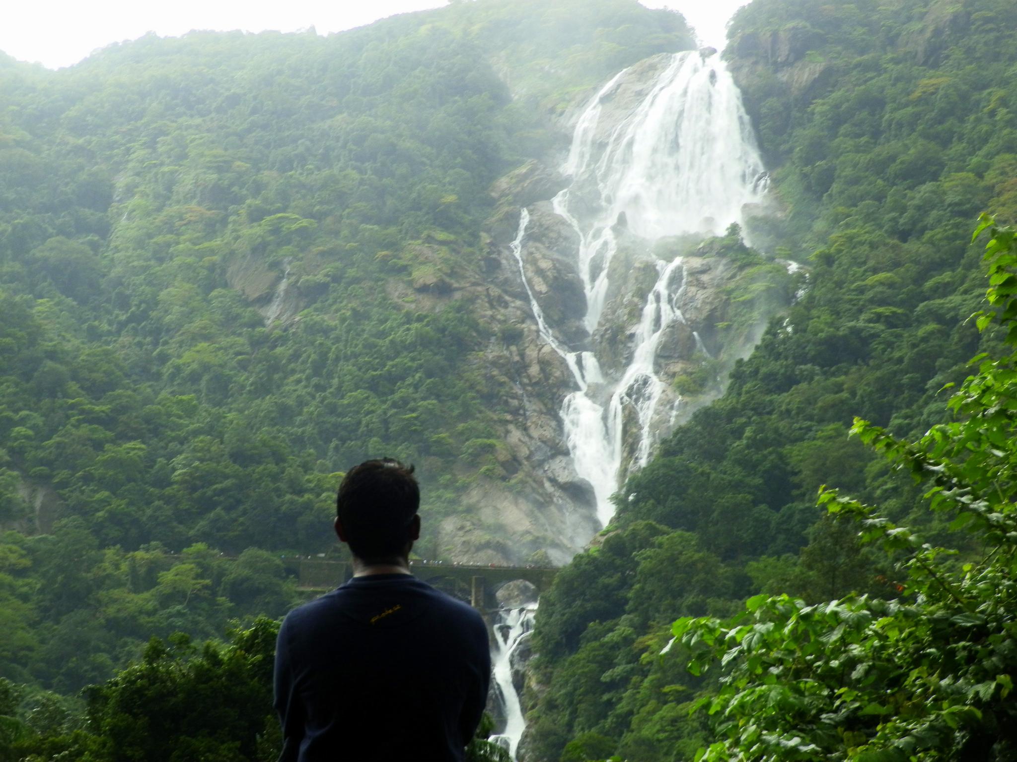 Турист, наблюдающий за водопадом Дудхсагар, Индия