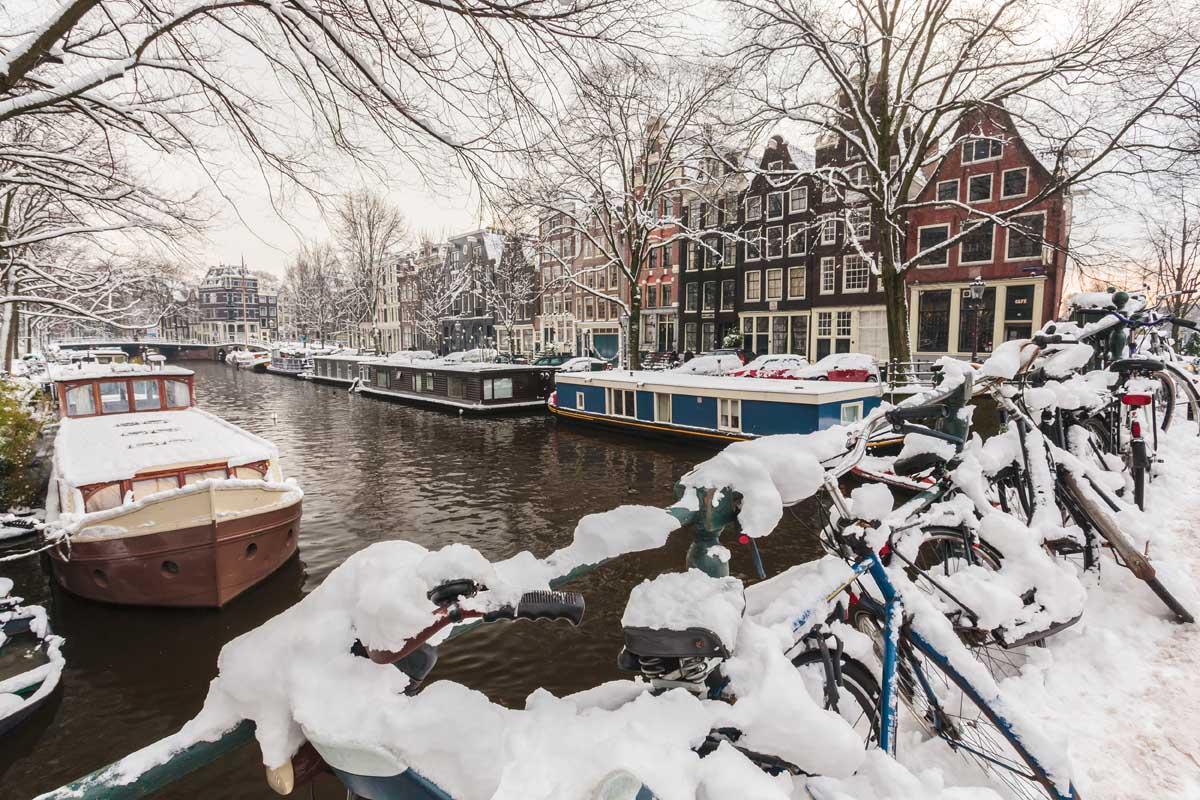 Зимний Амстердам, Нидерланды