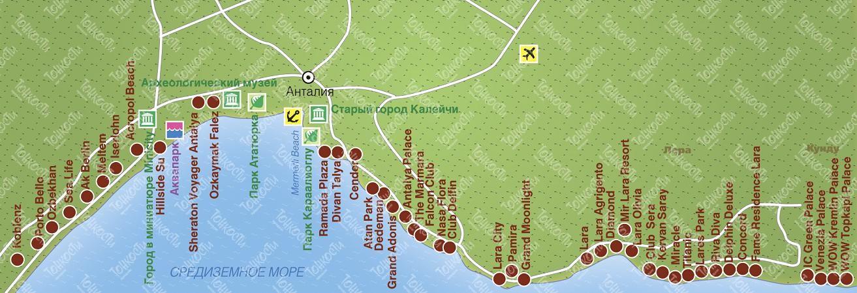 Karta Antalii Podrobnaya Karta Otelej Plyazhej I Turisticheskih