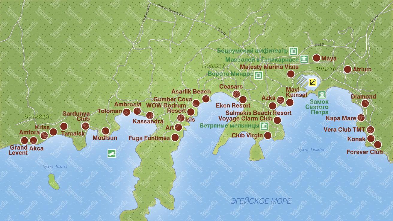 схема побережья белек