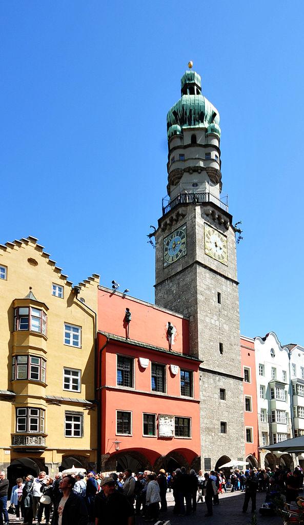 Городская башня и площадь в Инсбруке