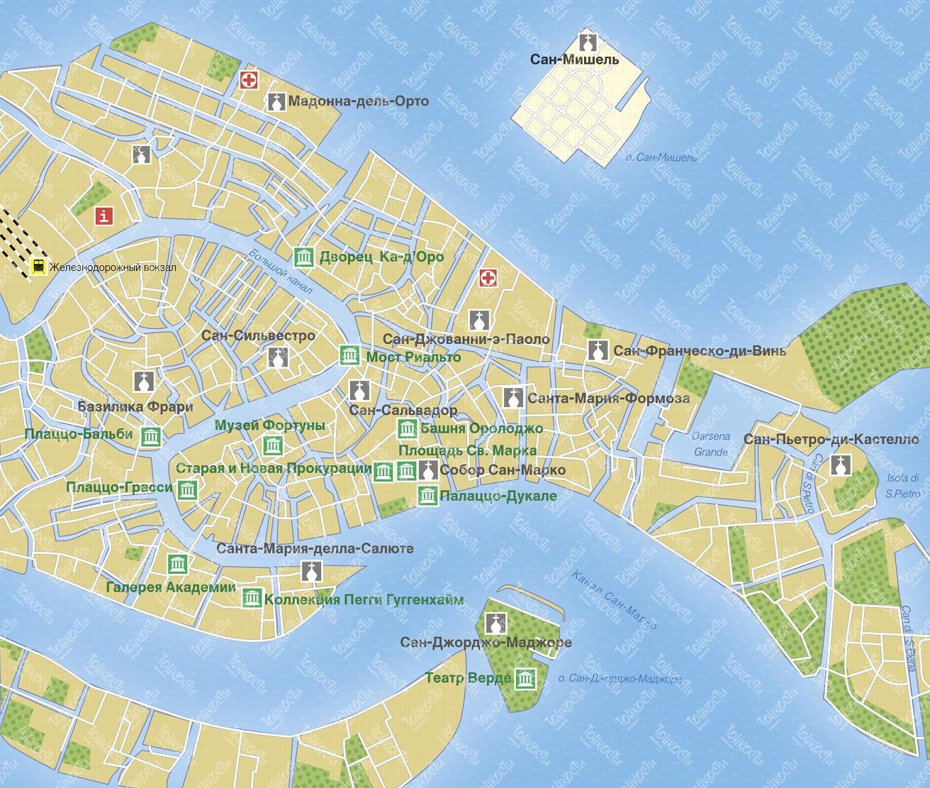 Karta Venecii Podrobnaya Karta Otelej I Turisticheskih Obektov