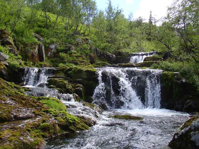 Каскад водопадов на Светлом ручье, Вишерский заповедник, Россия