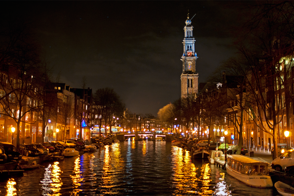 Вестеркерк и ночной Амстердам