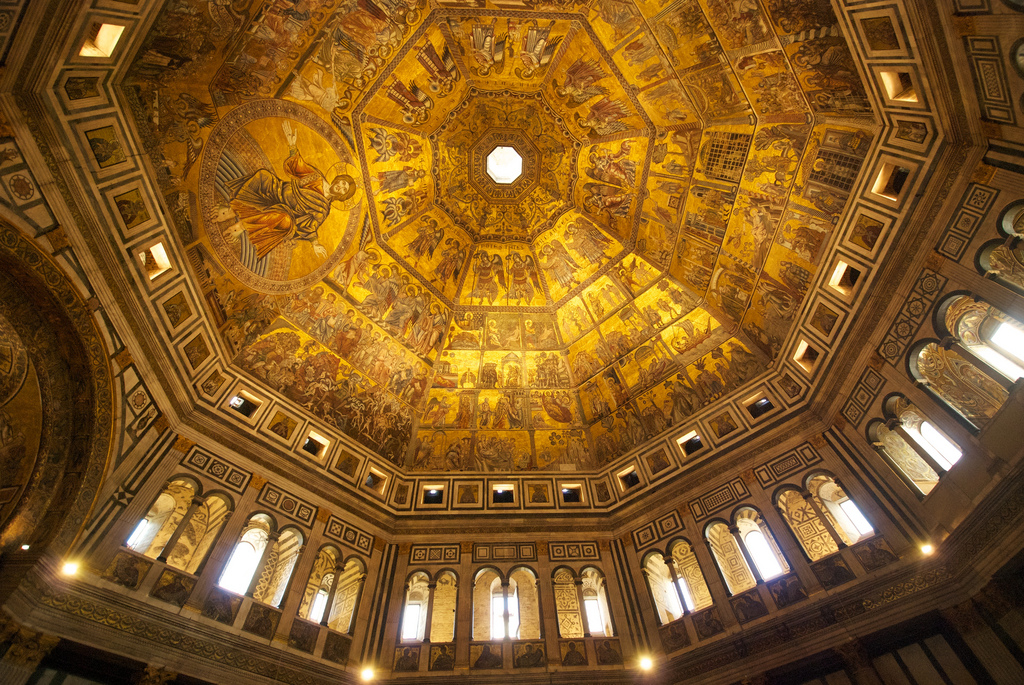 Баптистерий Сан-Джованни, мозаики на своде купола
