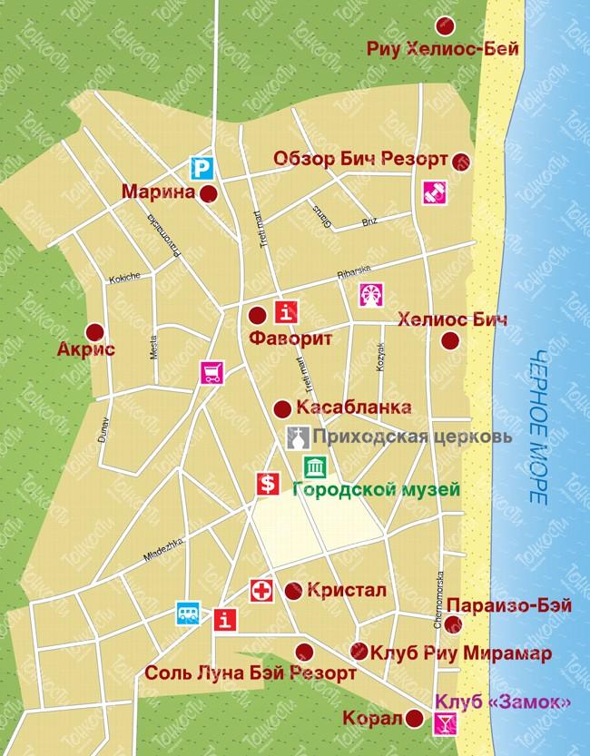 Karta Obzora Podrobnaya Karta Otelej Plyazhej I Turisticheskih