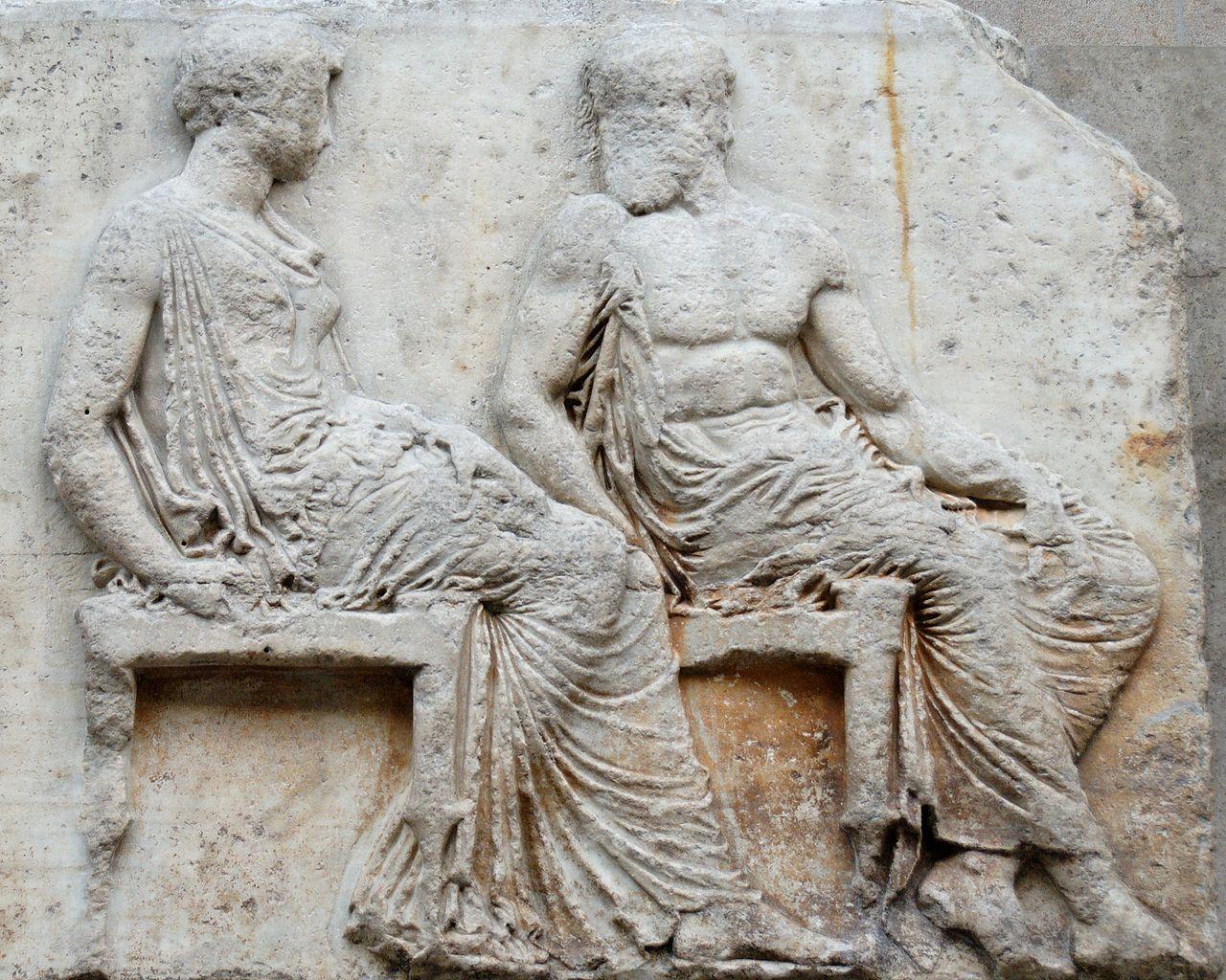 Парфенон в Афинах; сидящие боги, барельеф