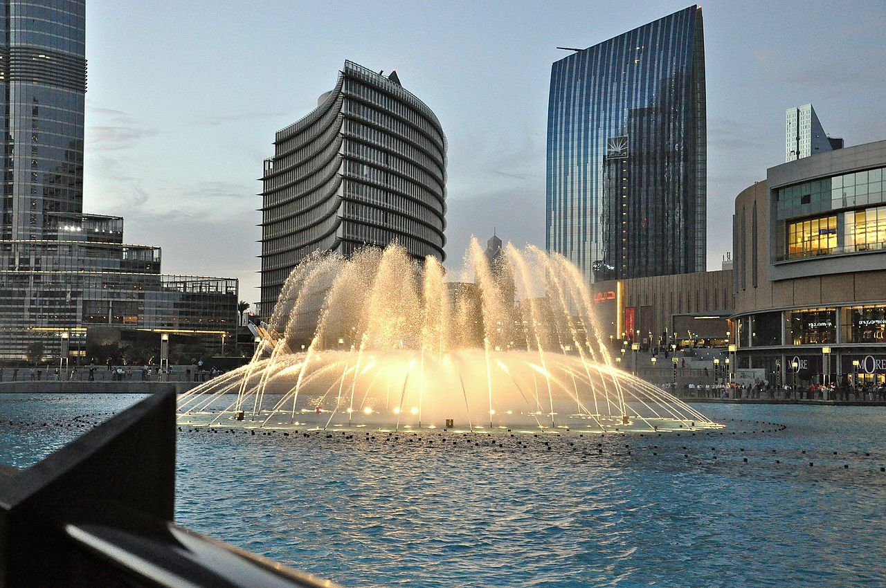 Фонтан в Дубае, ОАЭ