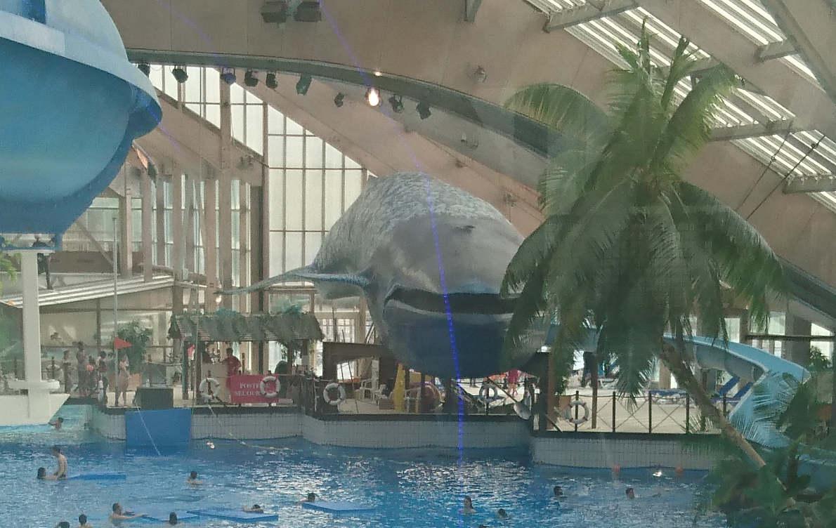 Аквабульвар в Париже, горка-кит
