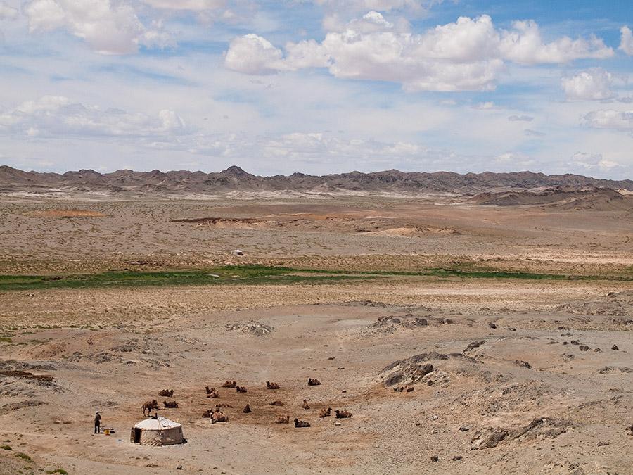 Юрта в пустыне Гоби, Монголия