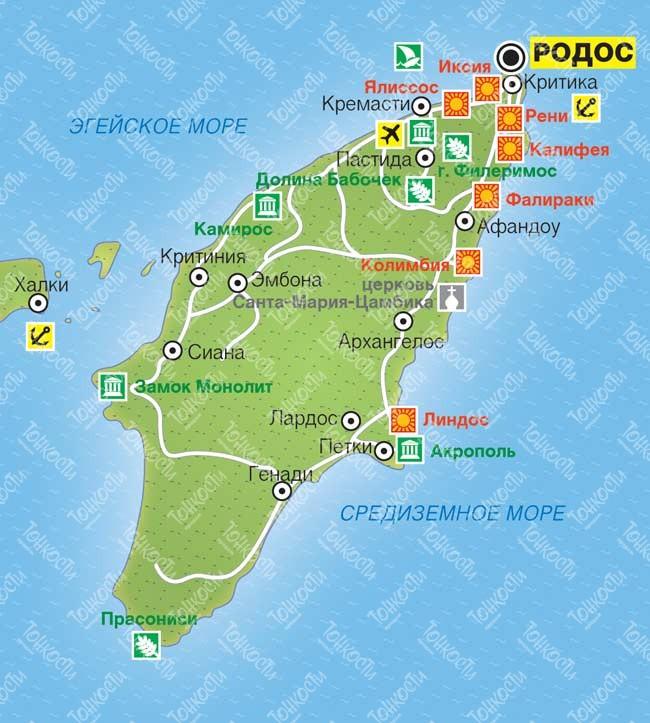 Karta Rodosa Podrobnaya Karta Otelej Plyazhej I Turisticheskih