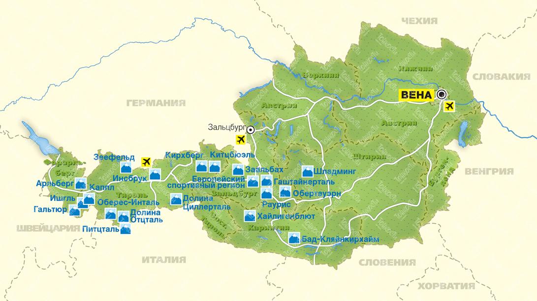 Karty Avstrii Na Russkom Yazyke Dorogi Goroda I Kurorty Na Karte