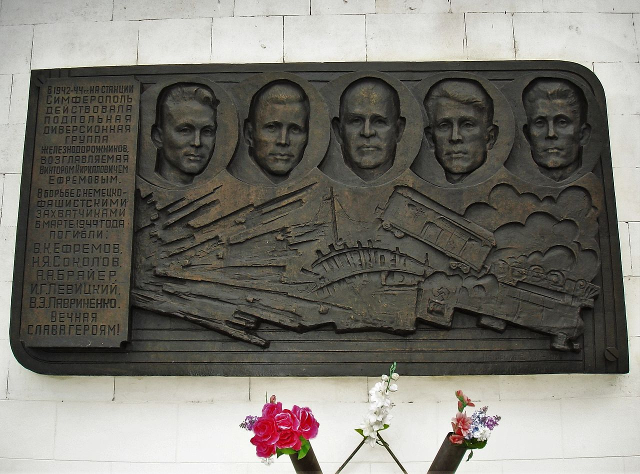 Железнодорожный вокзал Симферополя, памятная доска подпольщикам города