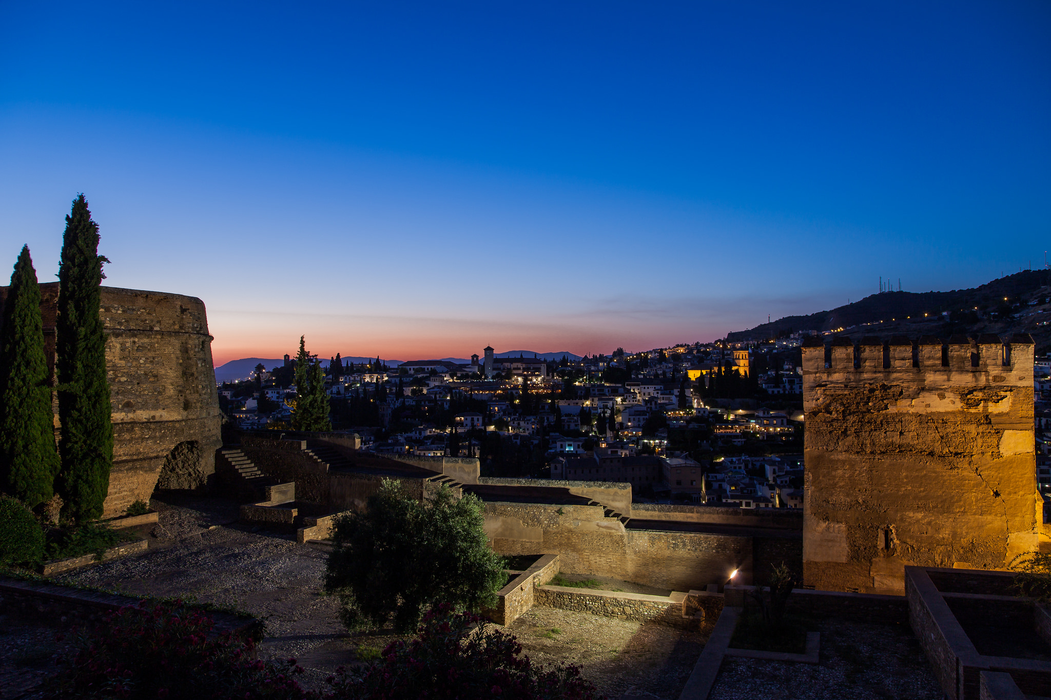 Вид с башни дворца Альгамбра, Гранада