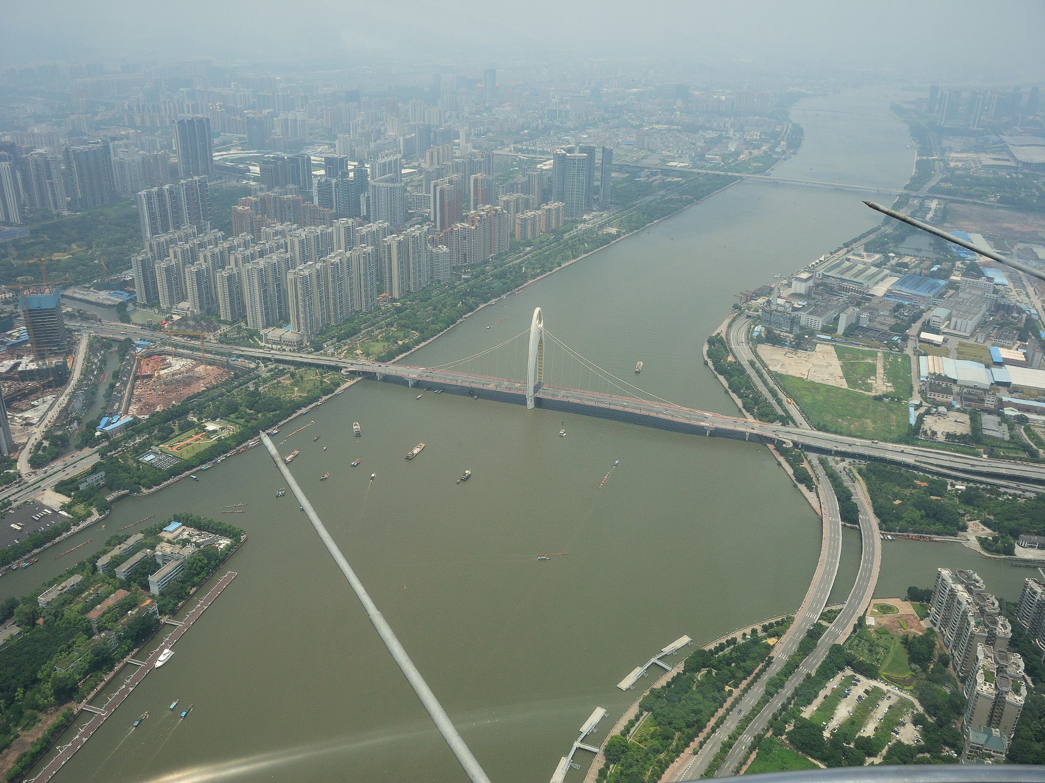 Жемчужная река в Гуанчжоу, аэрофотография