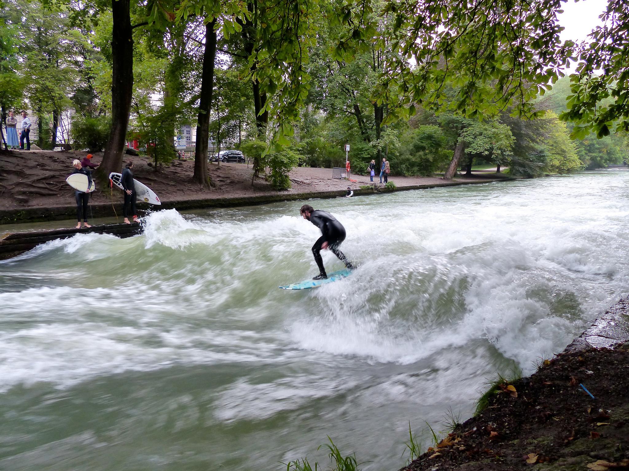 Английский сад в Мюнхене, серфинг