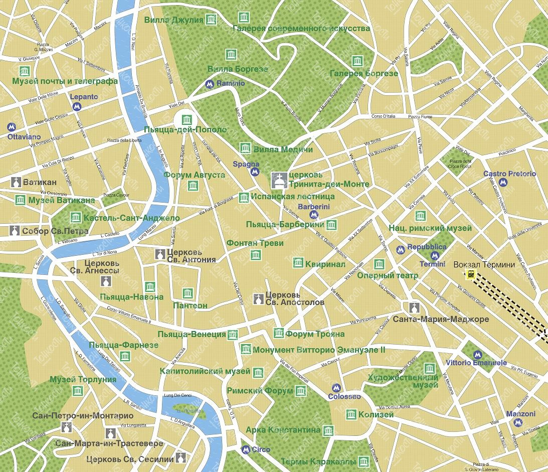 Karta Rima Podrobnaya Karta Otelej I Turisticheskih Obektov Rima
