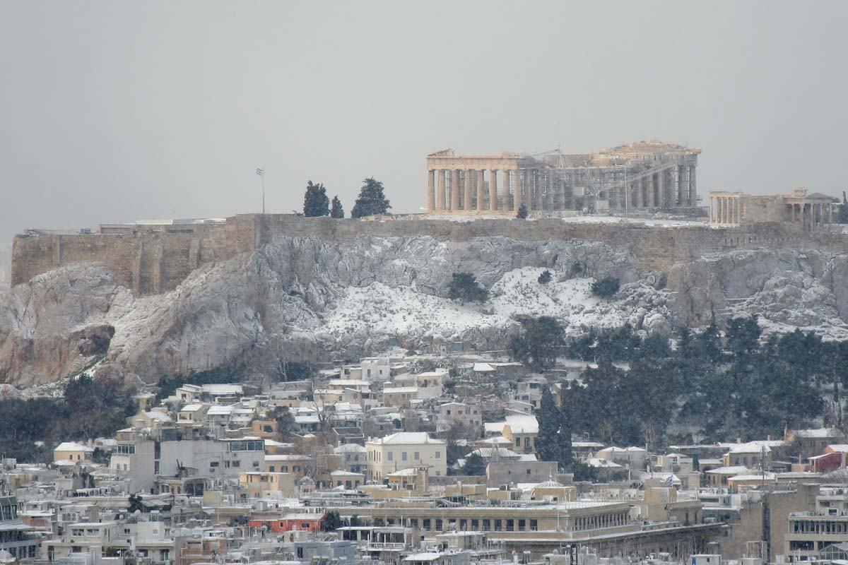 Афинский Акрополь зимним днем