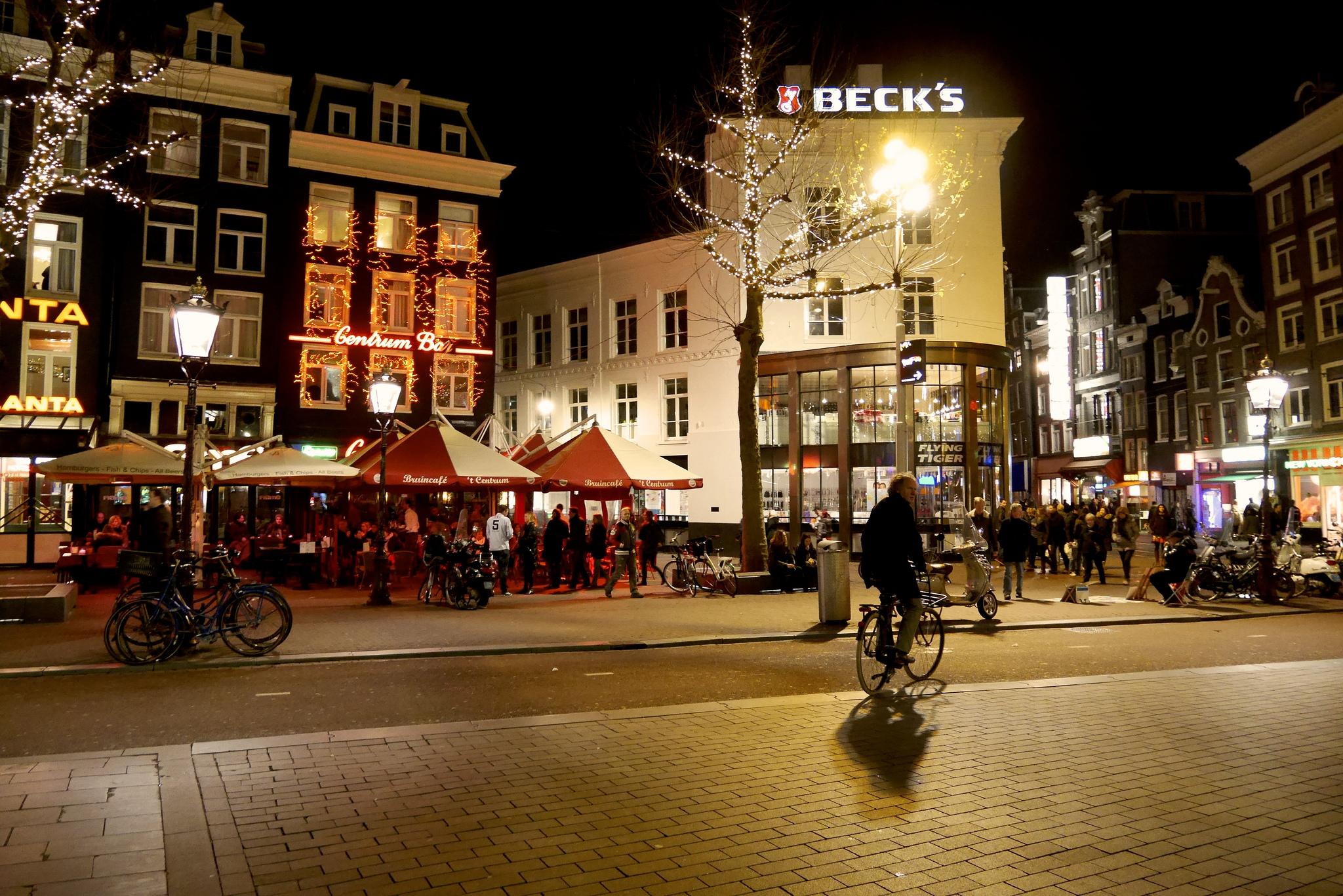 Площадь Рембрандта в Амстердаме, зима