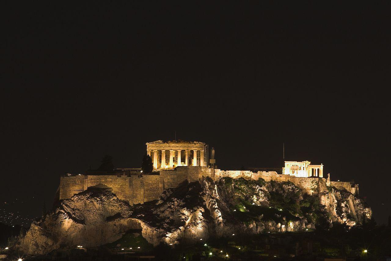 Парфенон в Афинах, ночь