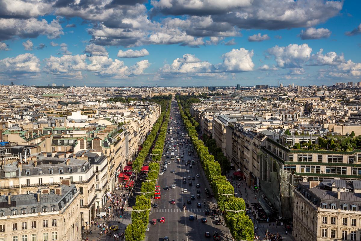 Вид на Елисейские Поля, Париж