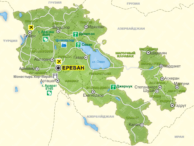 Karty Armenii Na Russkom Yazyke Dorogi Goroda I Kurorty Na Karte