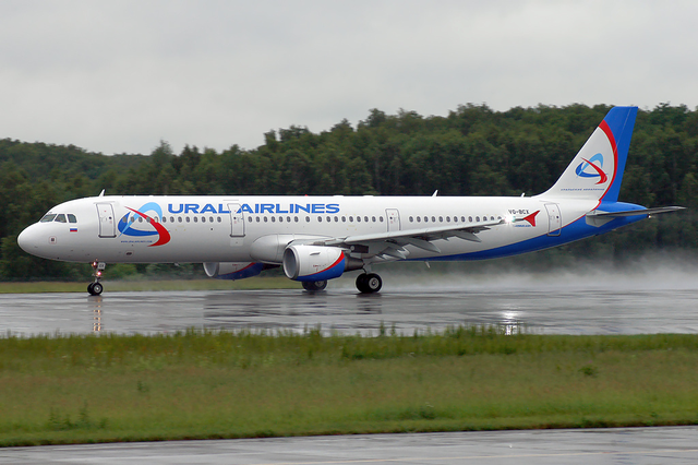 Ural Airlines A321-200 VQ-BCX DME June 2009.png