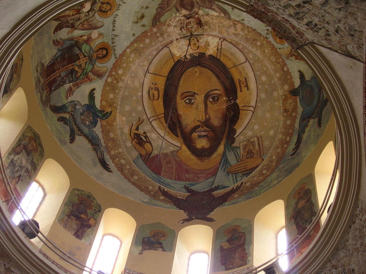Фреска на куполе Пицундского собора в Абхазии