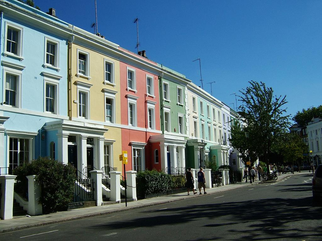 Разноцветные дома Ноттинг-Хилл, Лондон