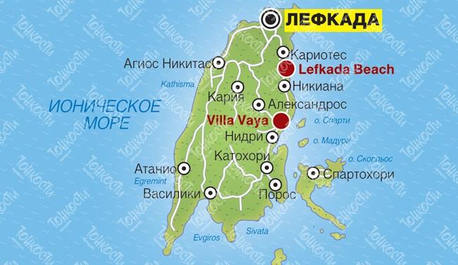 Karta Lefkady Podrobnaya Karta Otelej Plyazhej I Turisticheskih