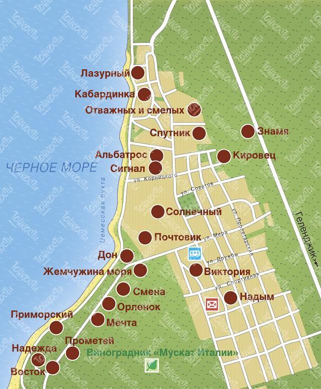 Пляжи Кабардинки  Карта фото и отзывы о пляжах