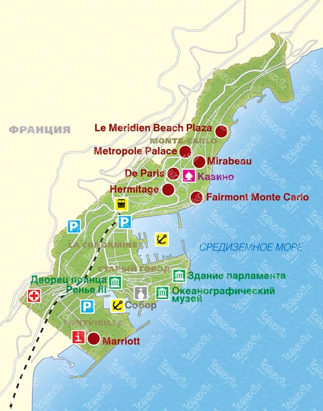 Karty Monako Na Russkom Yazyke Dorogi Goroda I Kurorty Na Karte