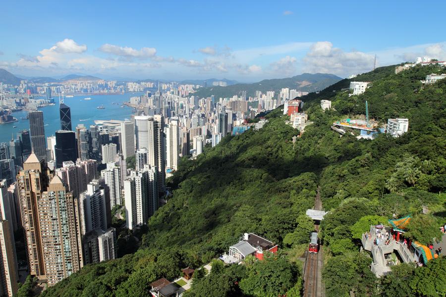 Пик Виктория, вид на Гонконг