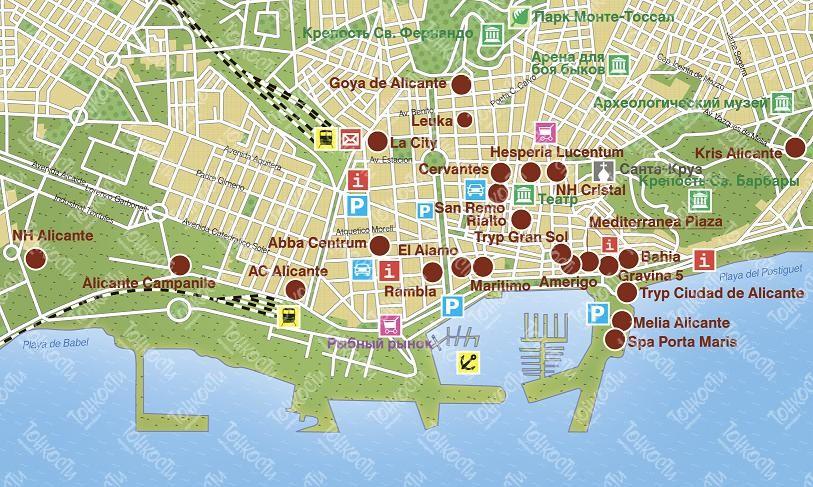 Karta Alikante Podrobnaya Karta Otelej I Turisticheskih Obektov