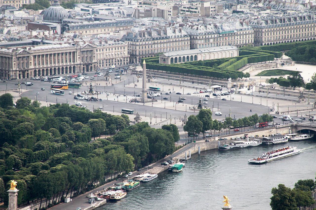 Вид на площадь Согласия с Эйфелевой башни