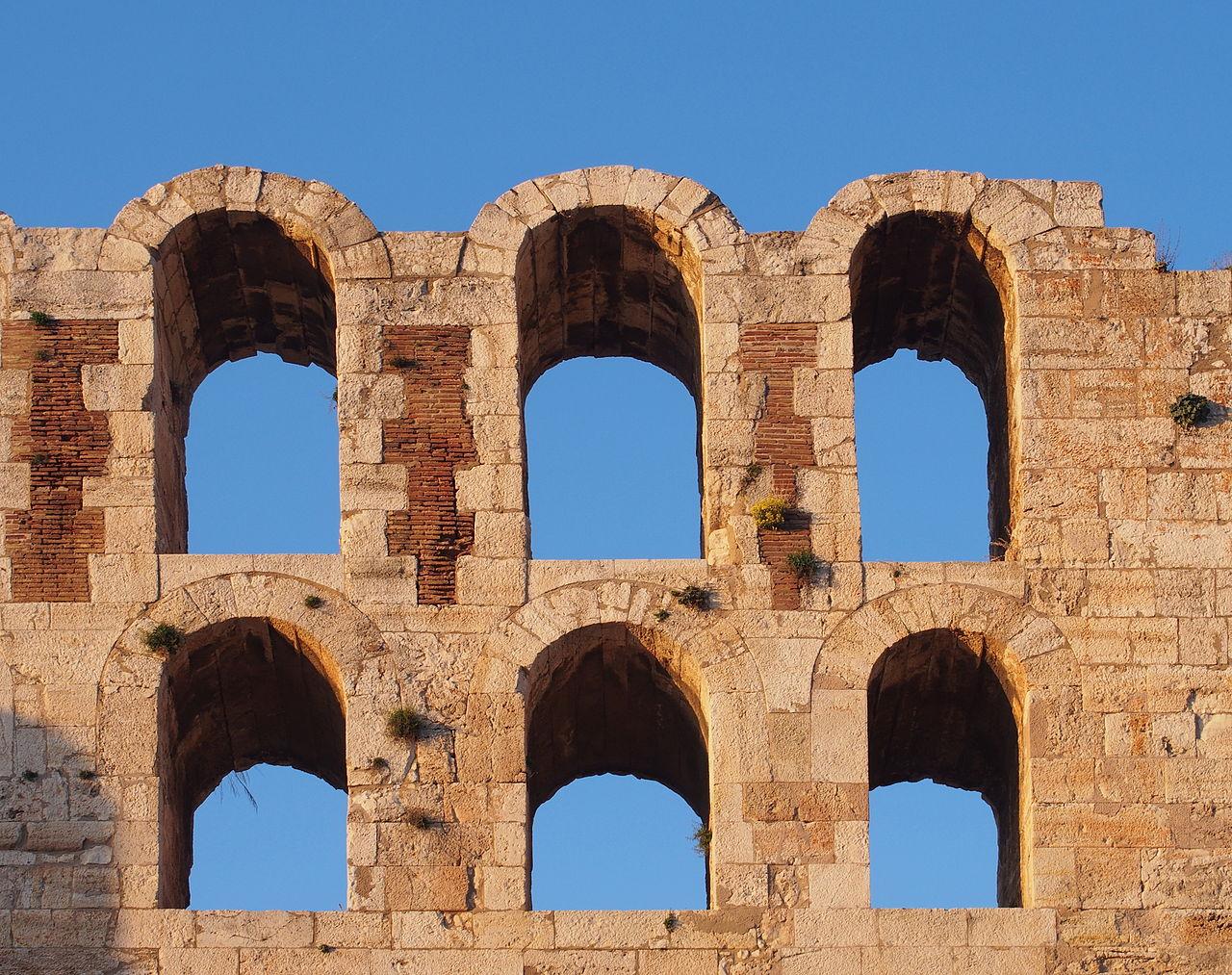 Одеон Герода Аттика, часть стены