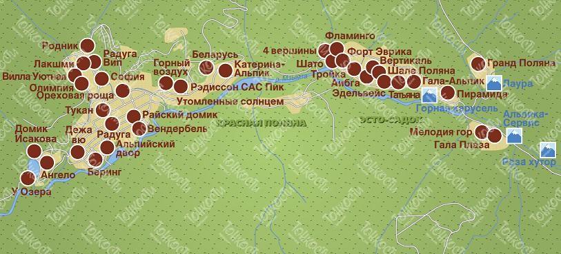 Отели эсто садок на карте