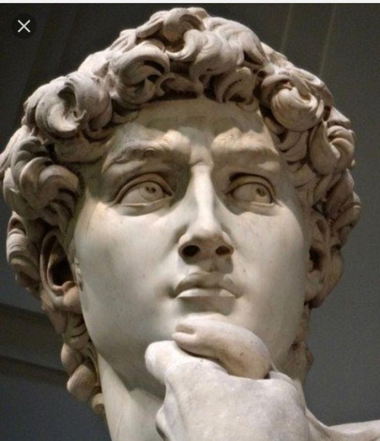 Лицо Давида в музее во Флоренции, Италия