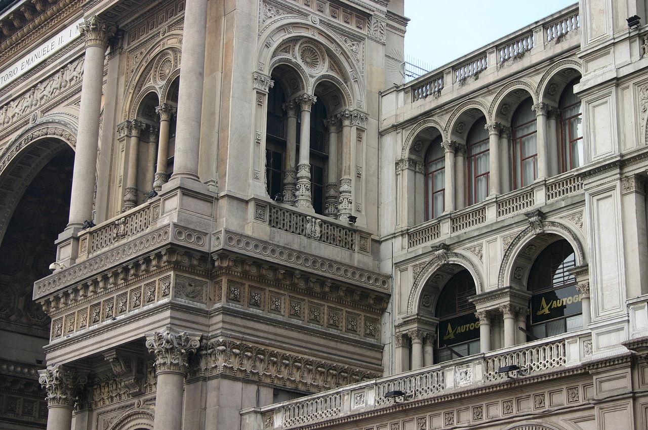 Галерея Виктора Эммануила II, деталь фасада