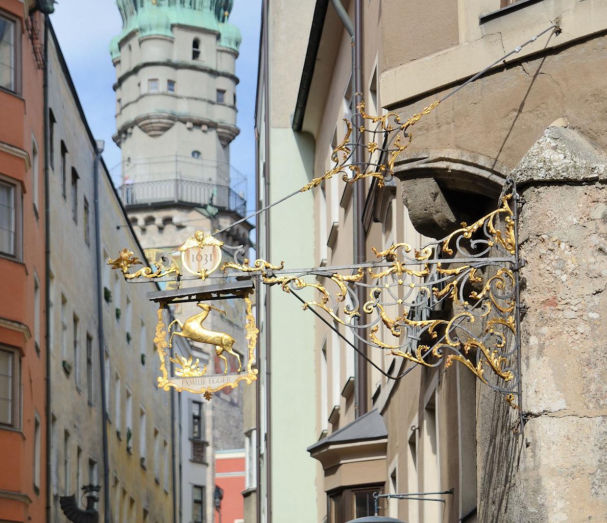 Вид на городскую башню в Инсбруке