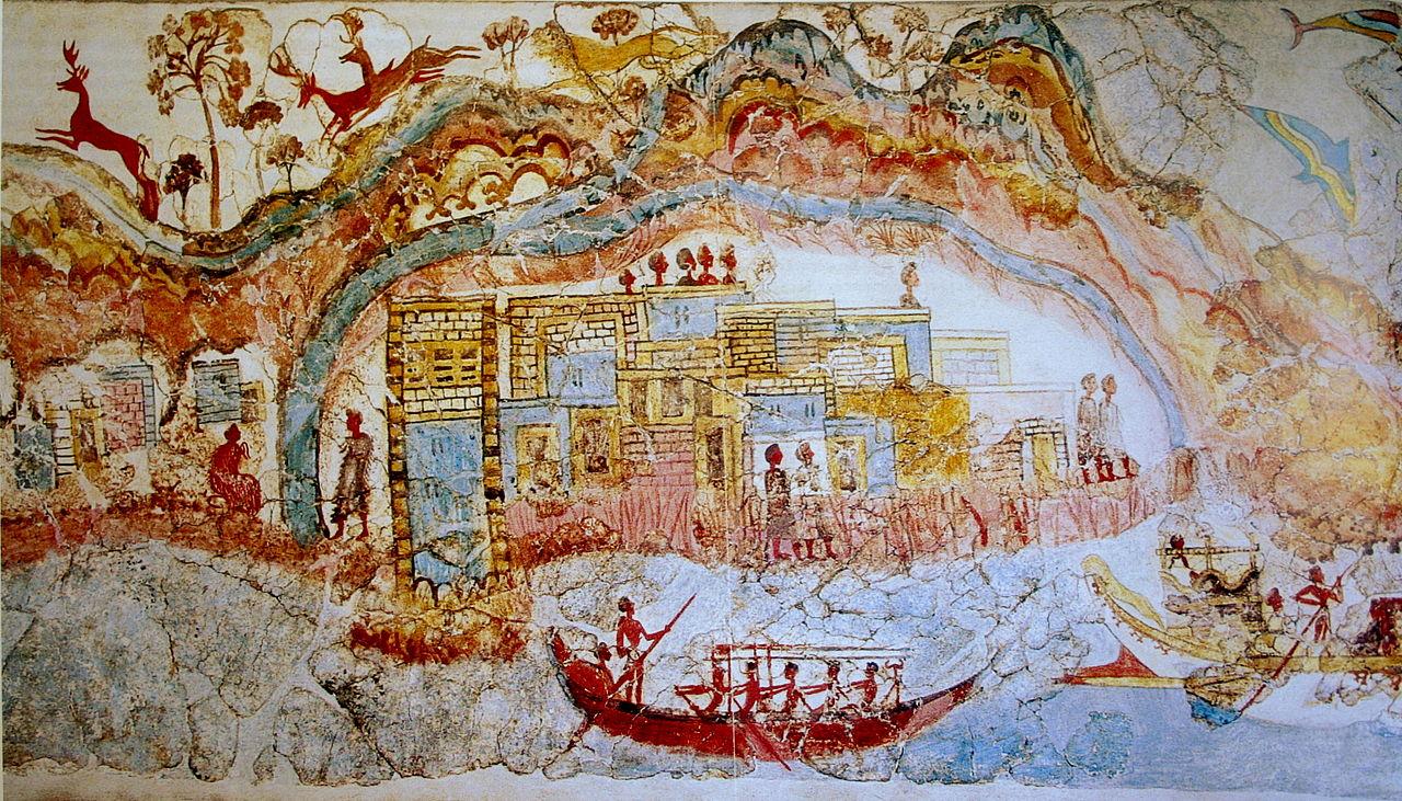 Фреска из Акротири, корабли у города
