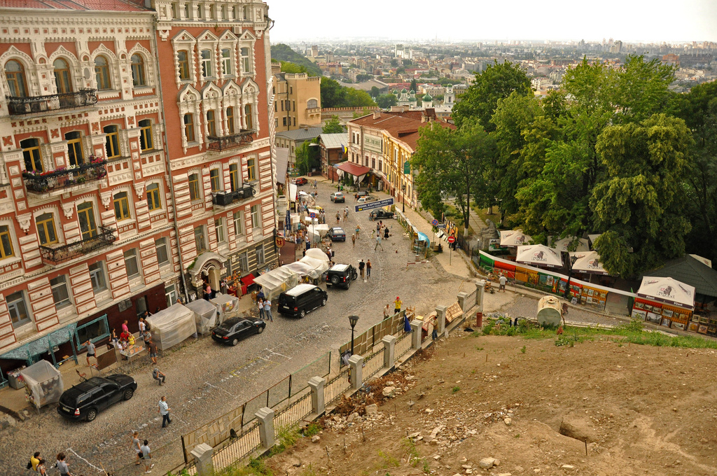 Вид на Андреевский спуск в Киеве