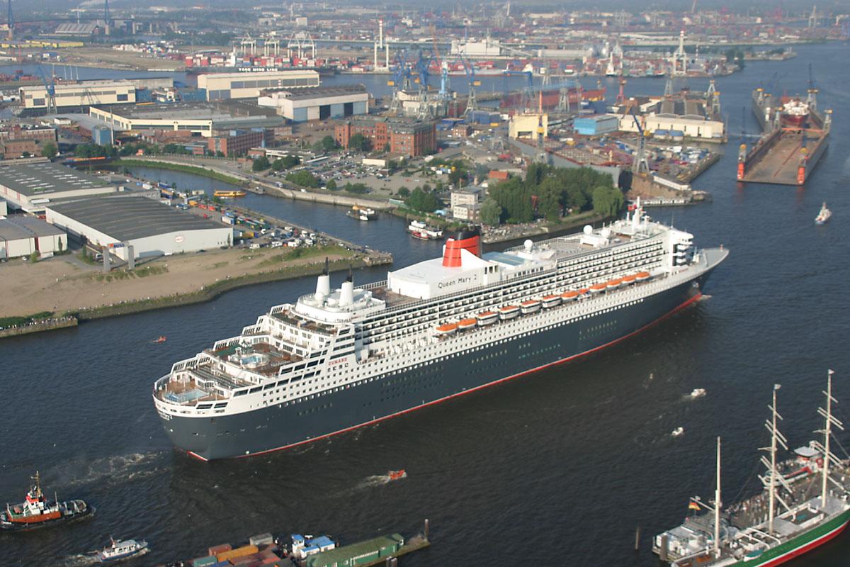 Порт Гамбурга, прибытие Queen Mary 2
