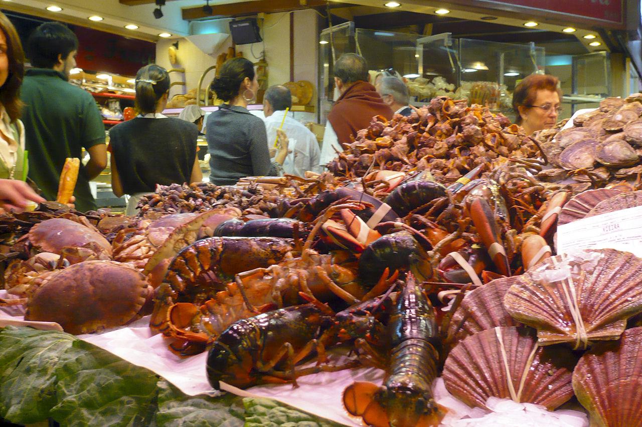 Рынок Бокерия, морепродукты