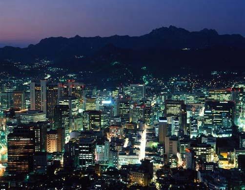 Панорама ночного Сеула с горы Намсан