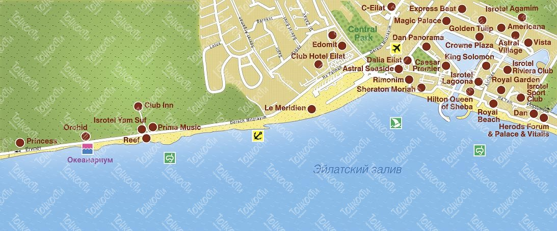 отели эйлата на карте города катере предусмотрена