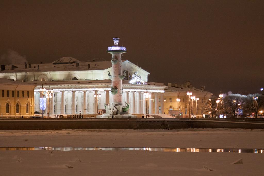 Ростральные колонны зимой, Санкт-Петербург