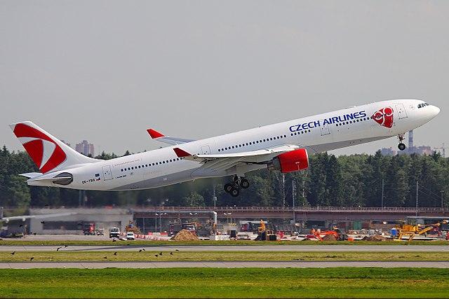 CSA Airbus A330-323 taking off at Sheremetyevo.jpg