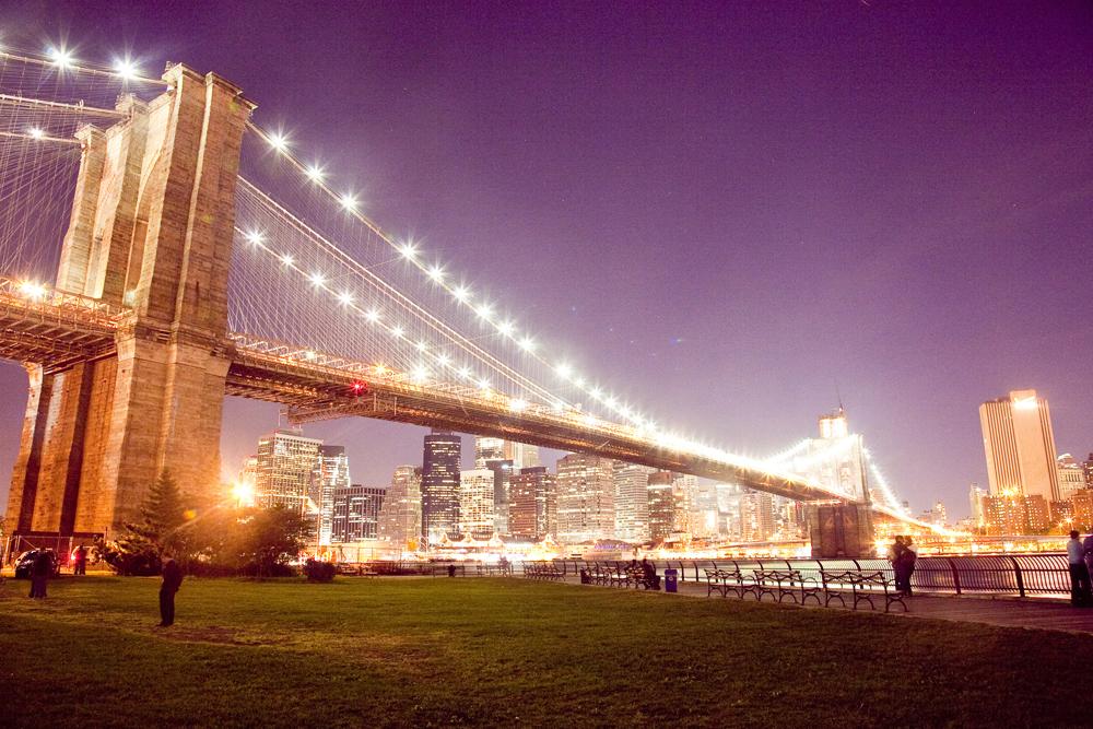 Ночной мост в Бруклине, Нью-Йорк