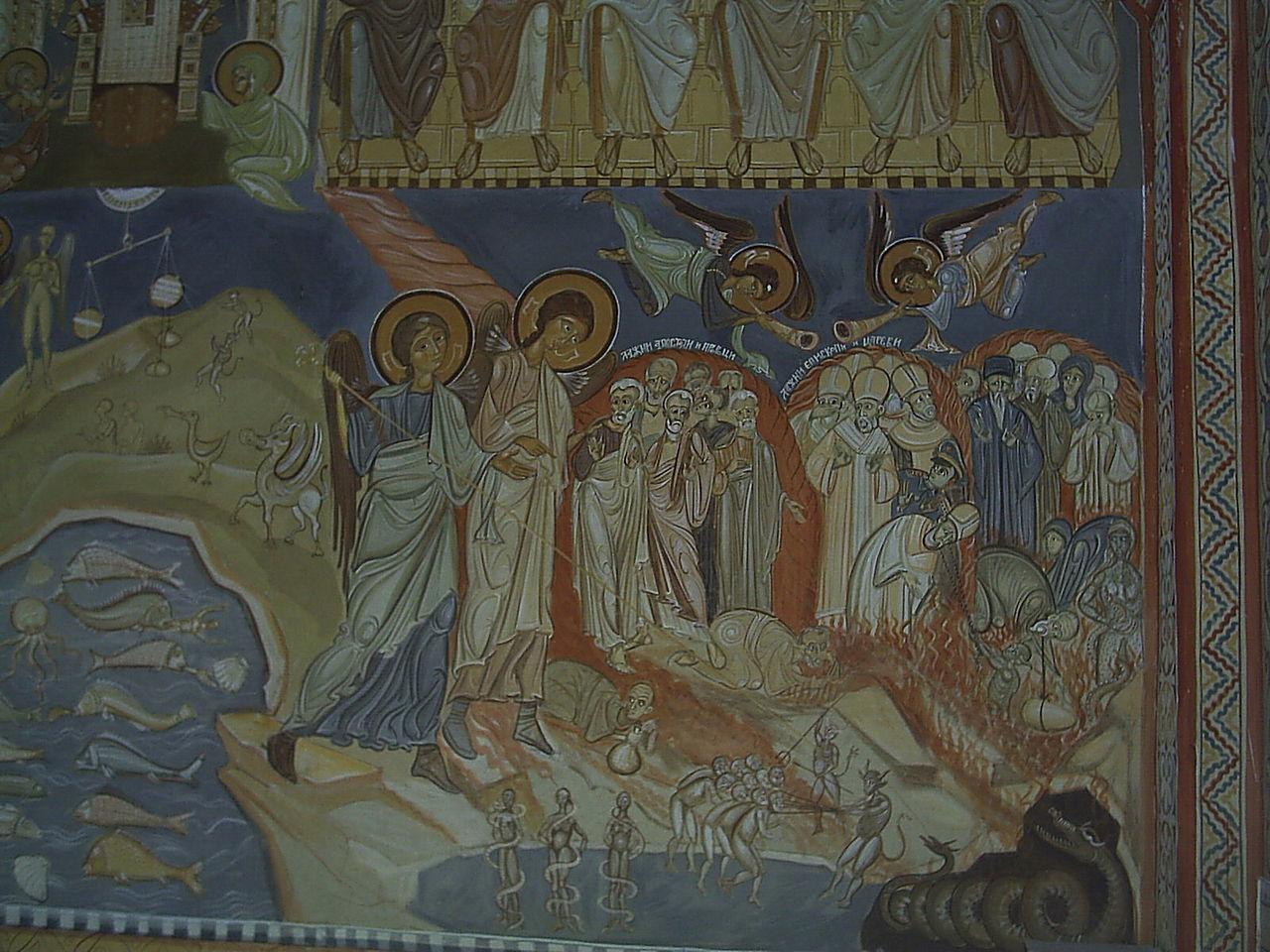 Тито в аду, фреска в монастыре Подмаине